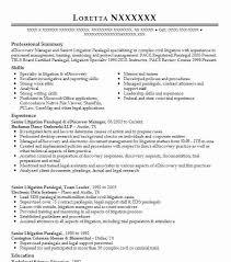 Senior Litigation Paralegal Ediscovery Manager Resume