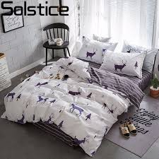 solstice stylish cartoon elk striped star style 3 4pcs bedding set contain duvet cover