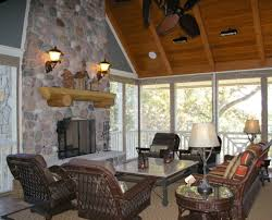 screened in porch with fireplace. The Fireplace In Screen Porch Is A Focal Point And Adds Cozy Warmth. Screened With I