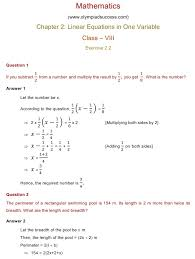 chapter 2 linear equations in one variable exercise 2 2