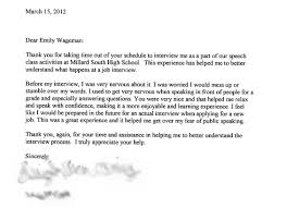 Sample Thank You Letter After High School Interview Milviamaglione Com