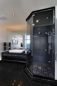 black bathroom. Astonishing Black Bathroom Design Ideas With Small Shower Cabin Image