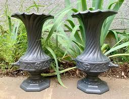 vintage cast iron garden urns 1950s