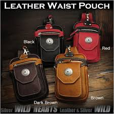 leather waist pouch hip bag pack belt pouch 4 colors black brown dark brown red wild hearts leather silver id wp3513b13