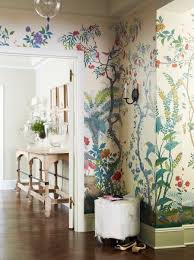 Hand Painted Gracie botanical wallpaper // Suzanne McGrath Design // Home  Ideas