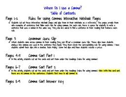 When Do I Use A Comma When Do I Use A Comma Interactive Notebook Pages And Activity