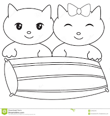 Two Kittens With A Pillow Coloring Page Stock Illustration