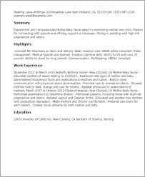 Mother Baby Nurse Resume Template Best Design Tips Myperfectresume