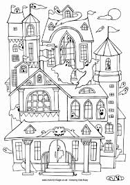 Small Picture Haunted House Colouring Page
