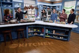 the kitchen food network. Contemporary Network Travis Chase And Grant Feltner Demonstrate A Game Day Burger Bar For Hosts  Katie Lee Sunny Anderson Jeff Mauro As Seen On Food Networku0027s The Kitchen On Network O
