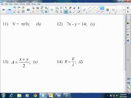 algebra i ii solving literal equations
