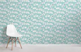 Patterned Wallpaper Mesmerizing Teal Llama Patterned Wallpaper Mural Murals Wallpaper