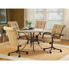 Card Table Chairs With Casters Home Trends Also Kitchen Rolling - Casters for dining room chairs