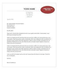 Formal Job Offer Template Employment Offer Template Letter Of Decline Job Sample Reply