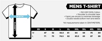 Tee Size Chart Sizing Charts Stranger Stuff
