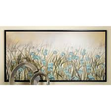 framed blue flowers wall art in brown on blue brown wall art with litton lane 27 in x 55 in framed blue flowers wall art in brown