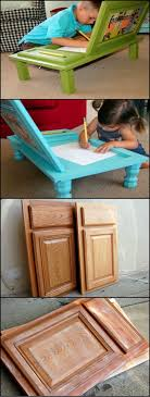 every day of the week kitchens get dumped instead of throwing them away why not recycle some of the cupboard doors into an art desk