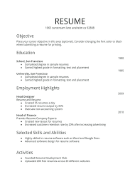 First Resume Samples – Resume Directory