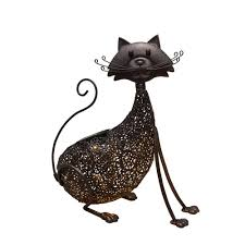 steel indoor outdoor animal garden cat metal feline sculpture statue with solar