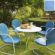 crosley furniture griffith 5 piece blue metal frame patio dining set