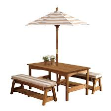 com kidkraft 00 outdoor table and bench set with cushions and umbrella espresso with oatmeal and white striped fabric toys