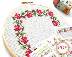 Cross Stitch Flower Patterns Amazing Flower Embroidery Pattern Pdf Rose Cross Stitch Pattern Cross Etsy