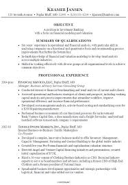 sample resume for someone seeking a job in investment banking with a focus on financial modeling common resume objectives