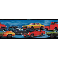 hot rod cars prepasted wallpaper border