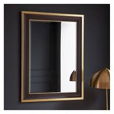 brand new edmonton rectangle wall mirror in black gold