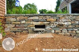 7 2016 monrovia mt airy maryland dry laid stone retaining wall free standing with 2 lintel water drains 18 w pa colonial blue square caps x 30 l x