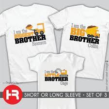 Dump Truck Biggest Brother Shirt Dumptruck Big Brother Shirt Little Brother Shirt Or Bodysuit 3 Personalized Construction Shirts