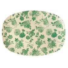Vaisselle Melamine Design Rectangular Melamine Plate Green Rose Print