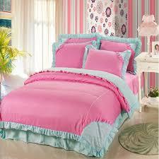 blue ruffle bedding gorgeous creative pink korean set princess queen