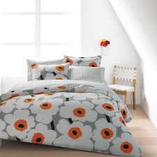 marimekko unikko grey white orange duvet set