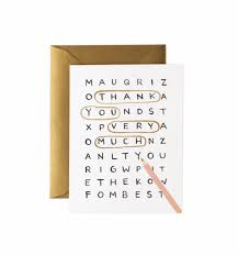 Word Thank You Word Search Thank You Greeting Card By Rifle Paper Co Made In Usa