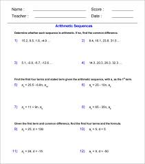 Arithmetic Sequence Worksheet Answers 9 Arithmetic Sequence Examples Doc Pdf Excel Free