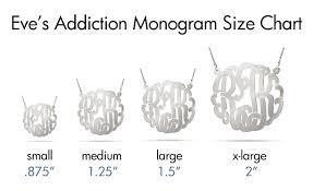 Monogram Necklace Size Guide Monogram Necklace Sterling
