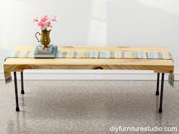 rustic modern coffee table or bench with plumbing pipe legs tutorial