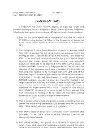 Counter Affidavit Sample Public Law Politics