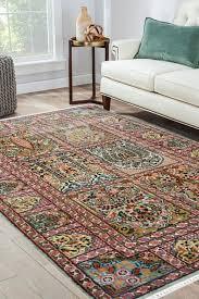 trio hamadan multi color persian silk rug
