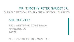 1992123228 NPI Number | MR. TIMOTHY PETER GAUDET JR. | MARRERO, LA | NPI  Registry | Medical Coding Library | www.HIPAASpace.com © 2020