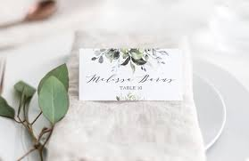Folded Place Cards Greenery Place Cards Template Greenery Folded Place Card Template Wedding Place Cards Wedding Escort Cards Editable Template 789
