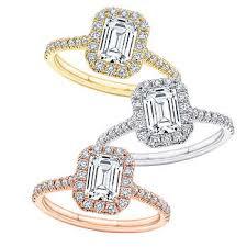 Emerald Cut VS2 Clarity, I Color Diamond Halo <b>Ring</b>
