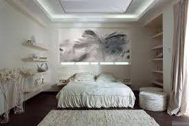 useful white bedroom rug textured with collectables displayed on shelving