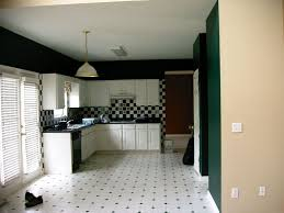 amazing black and white kitchen tile floor designs ideas with l shape white wooden kitchen cabinet and black kitchen countertop plus chess pattern ceramic