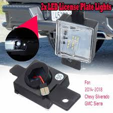 2018 Silverado License Plate Light Bulb 1 Pair Led Number License Plate Tag Light Bulbs Rear Lamp Lens Led Light For Chevy Silverado Colorado For Gmc Sierra 2014 2018