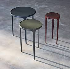 contemporary side table metal leather round wisp