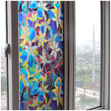 home static cling cover stained flower privacy window