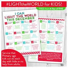2018 Light The World Calendar Free Download Lds Light The World Service Calendar For