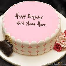 Write Name On Pink Birthday Cake For Girls Happy Birthday Wishes